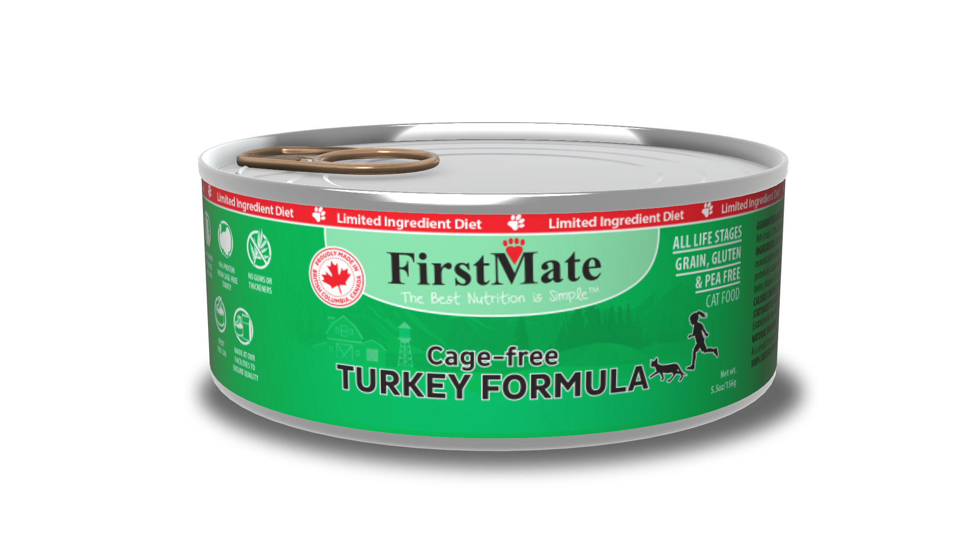 FirstMate Grain Friendly Cage Free Turkey & Rice Wet Cat Food, 5.5-oz
