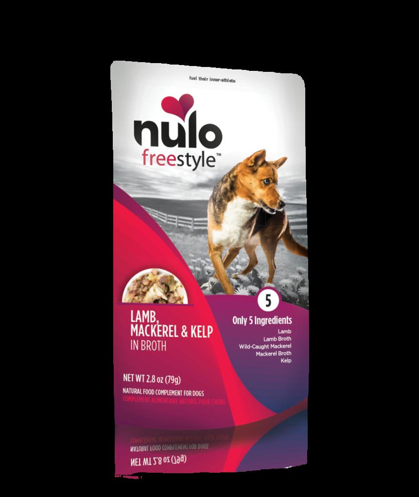 Nulo Dog Freestyle Pouch Lamb, Saba/Mackerel & Kelp in Broth Grain-Free Dog Food Topper, 2.8-oz
