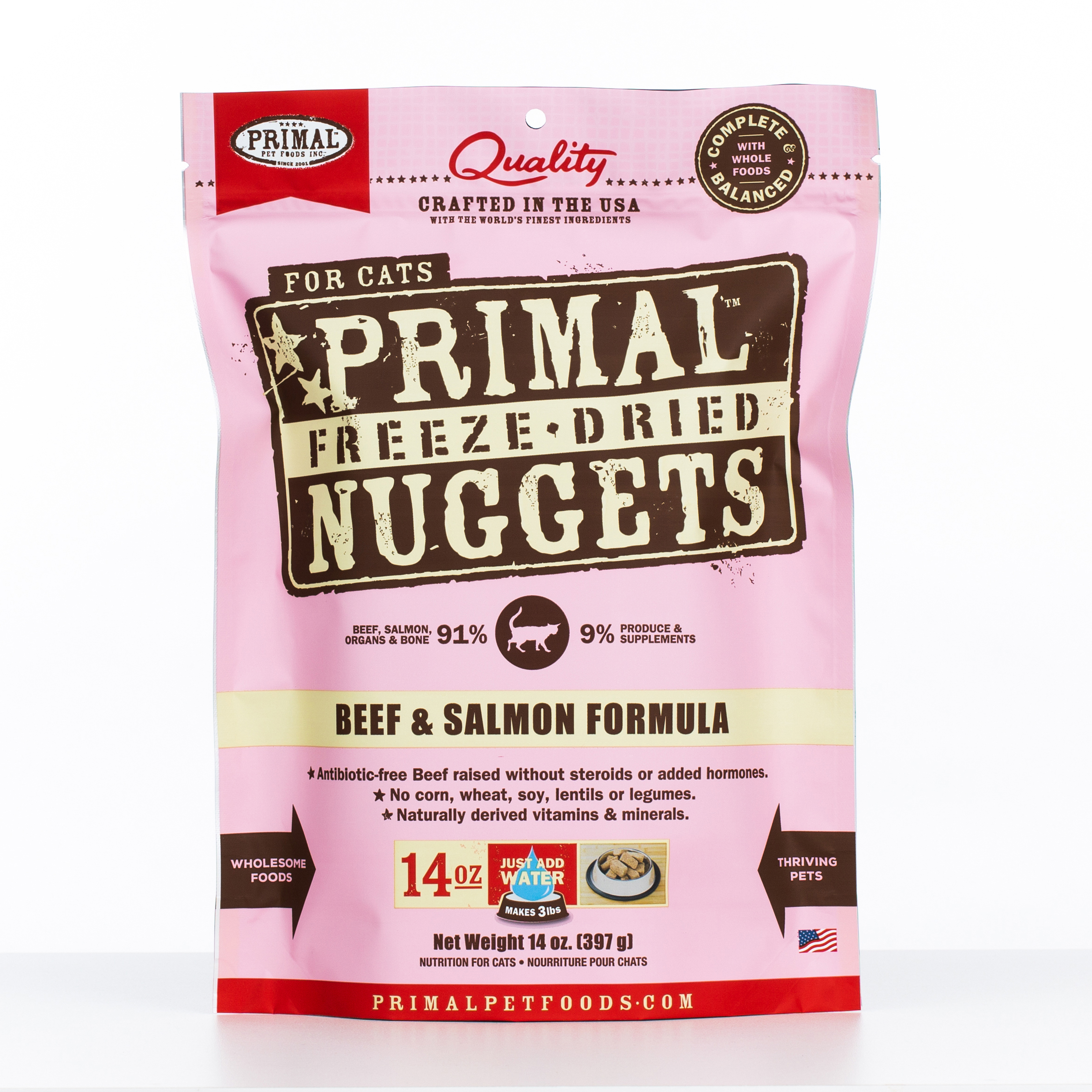 Primal Raw Freeze-Dried Nuggets Beef & Salmon Formula Cat Food, 14-oz bag Size: 14-oz bag, Weights: 14ounces