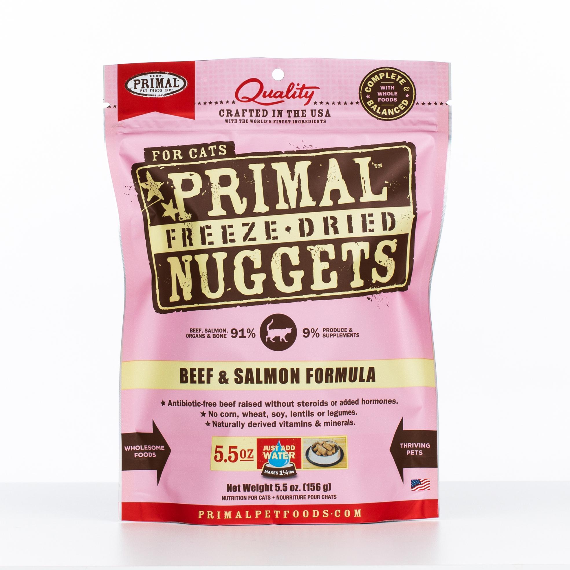Primal Raw Freeze-Dried Nuggets Beef & Salmon Formula Cat Food, 5.5-oz bag