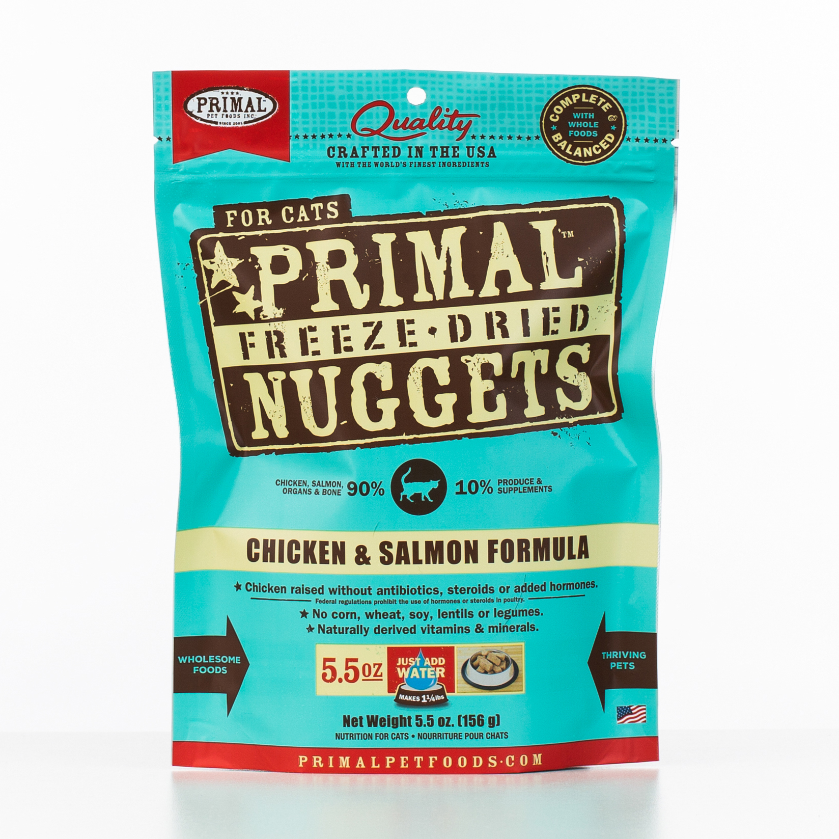 Primal Raw Freeze-Dried Nuggets Chicken & Salmon Formula Cat Food, 5.5-oz bag