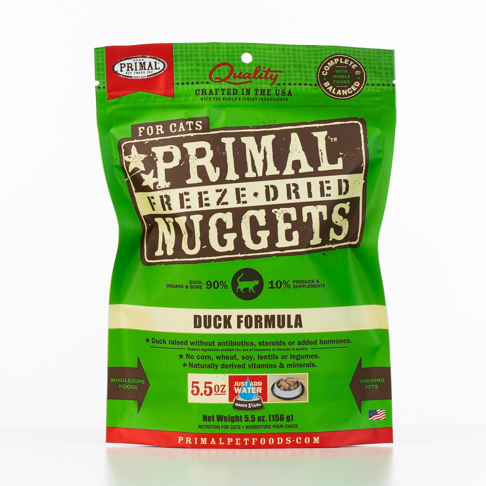 Primal Raw Freeze-Dried Nuggets Duck Formula Cat Food, 5.5-oz bag