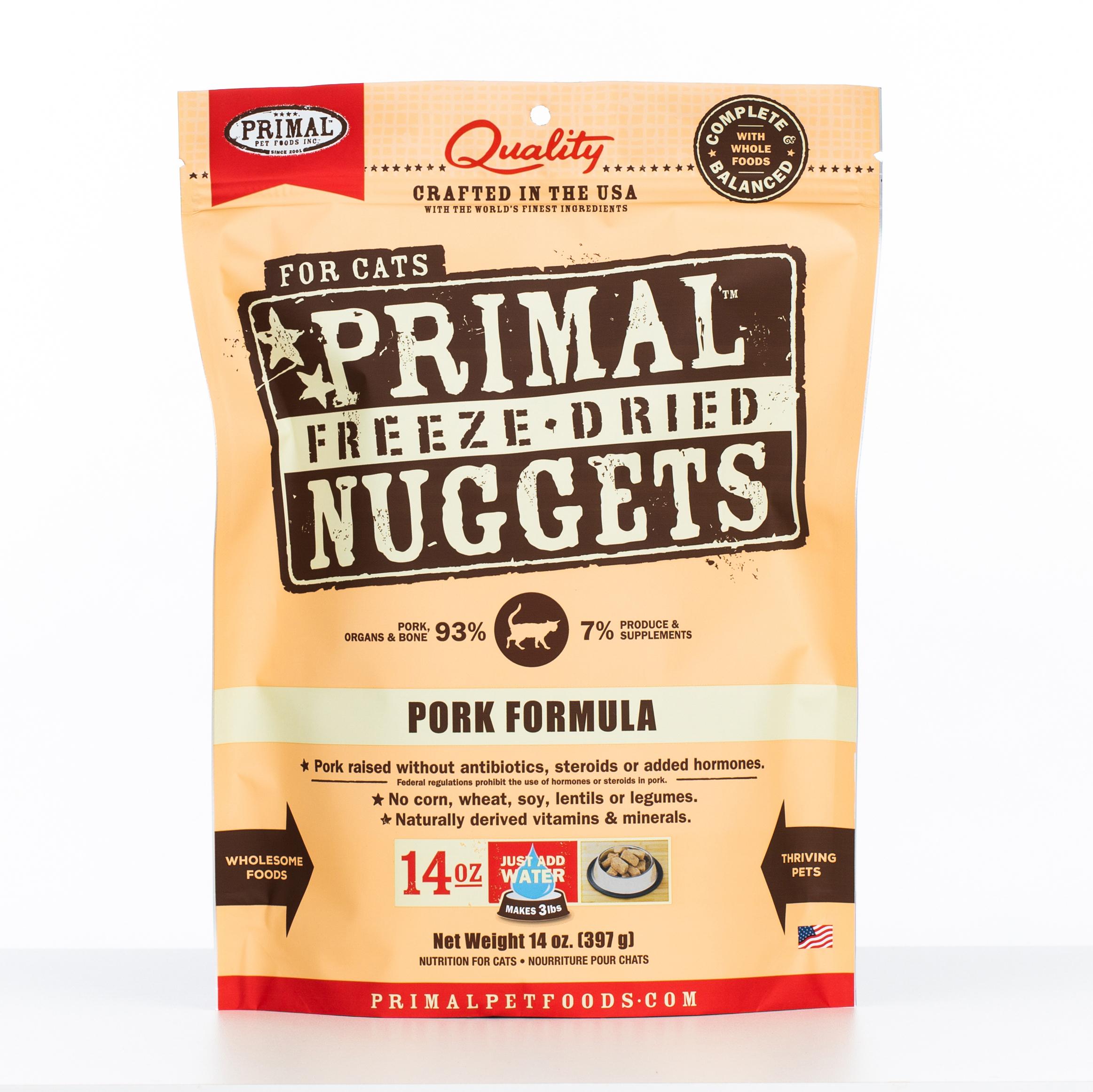 Primal Raw Freeze-Dried Nuggets Pork Formula Cat Food, 14-oz bag