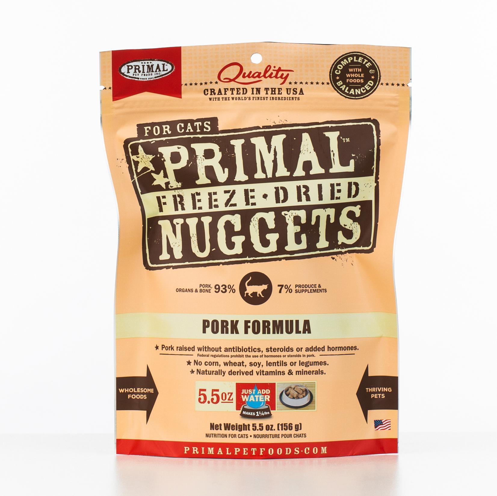 Primal Raw Freeze-Dried Nuggets Pork Formula Cat Food, 5.5-oz bag