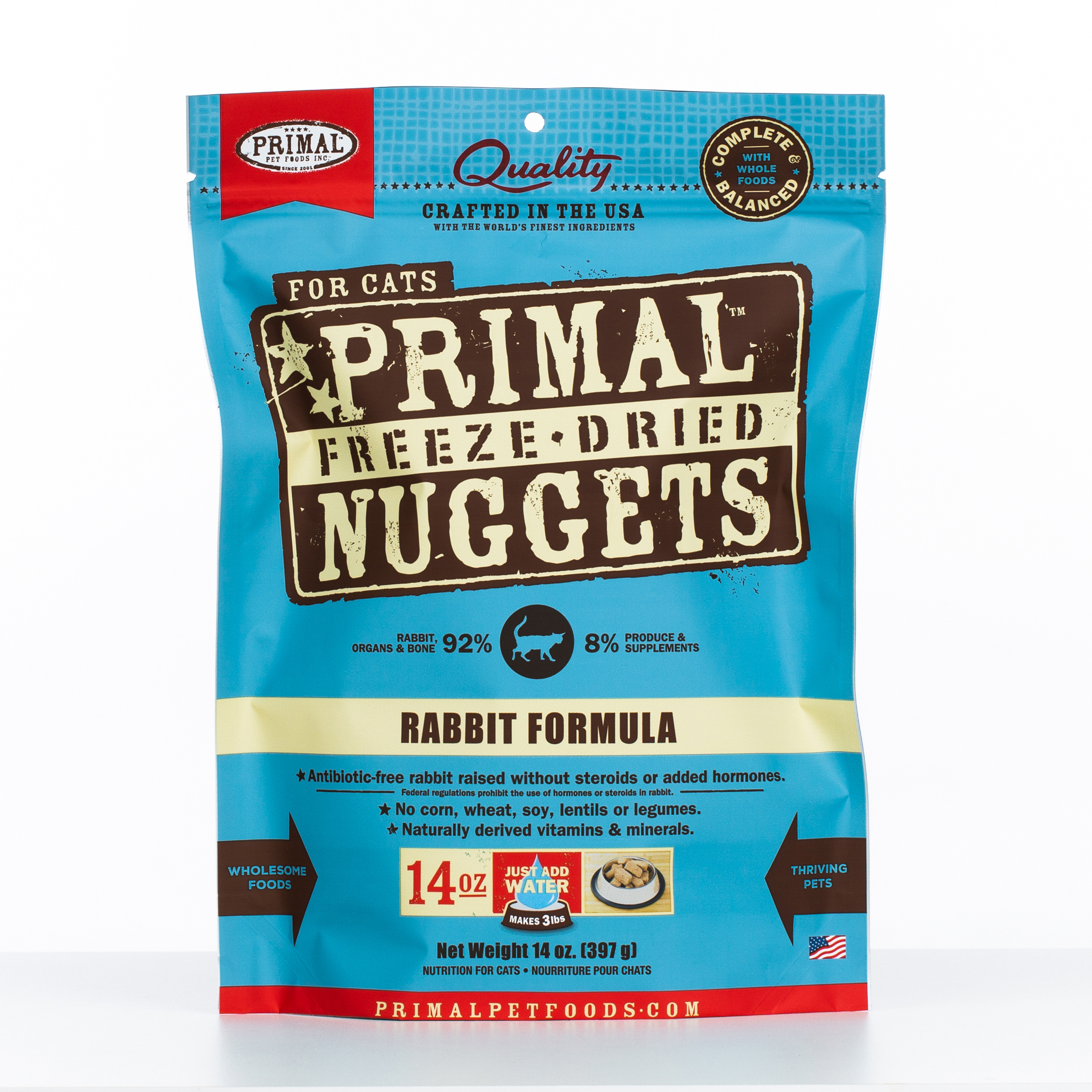 Primal Raw Freeze-Dried Nuggets Rabbit Formula Cat Food, 14-oz bag