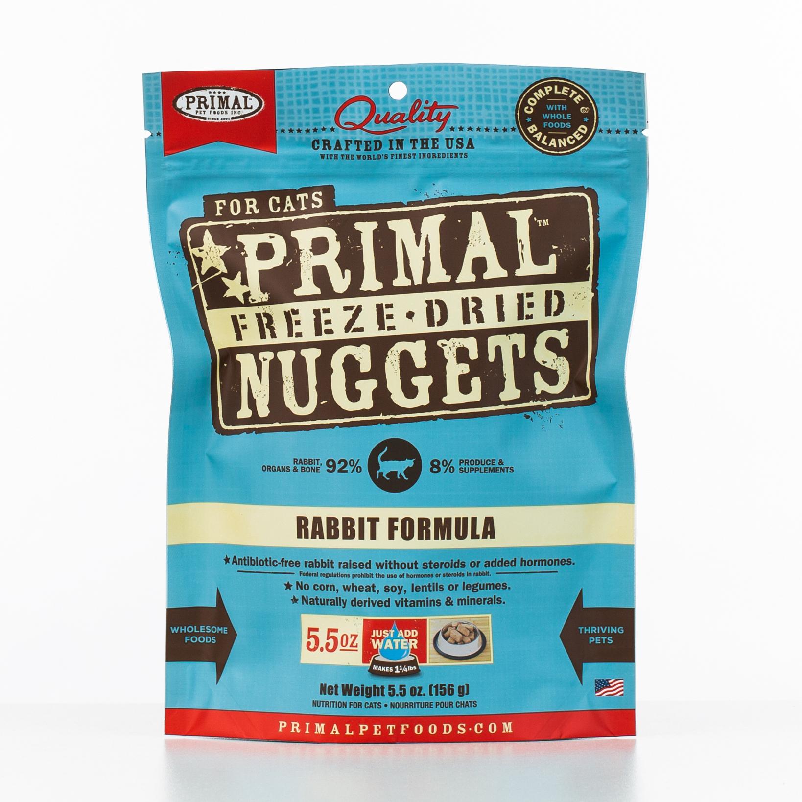 Primal Raw Freeze-Dried Nuggets Rabbit Formula Cat Food, 5.5-oz bag