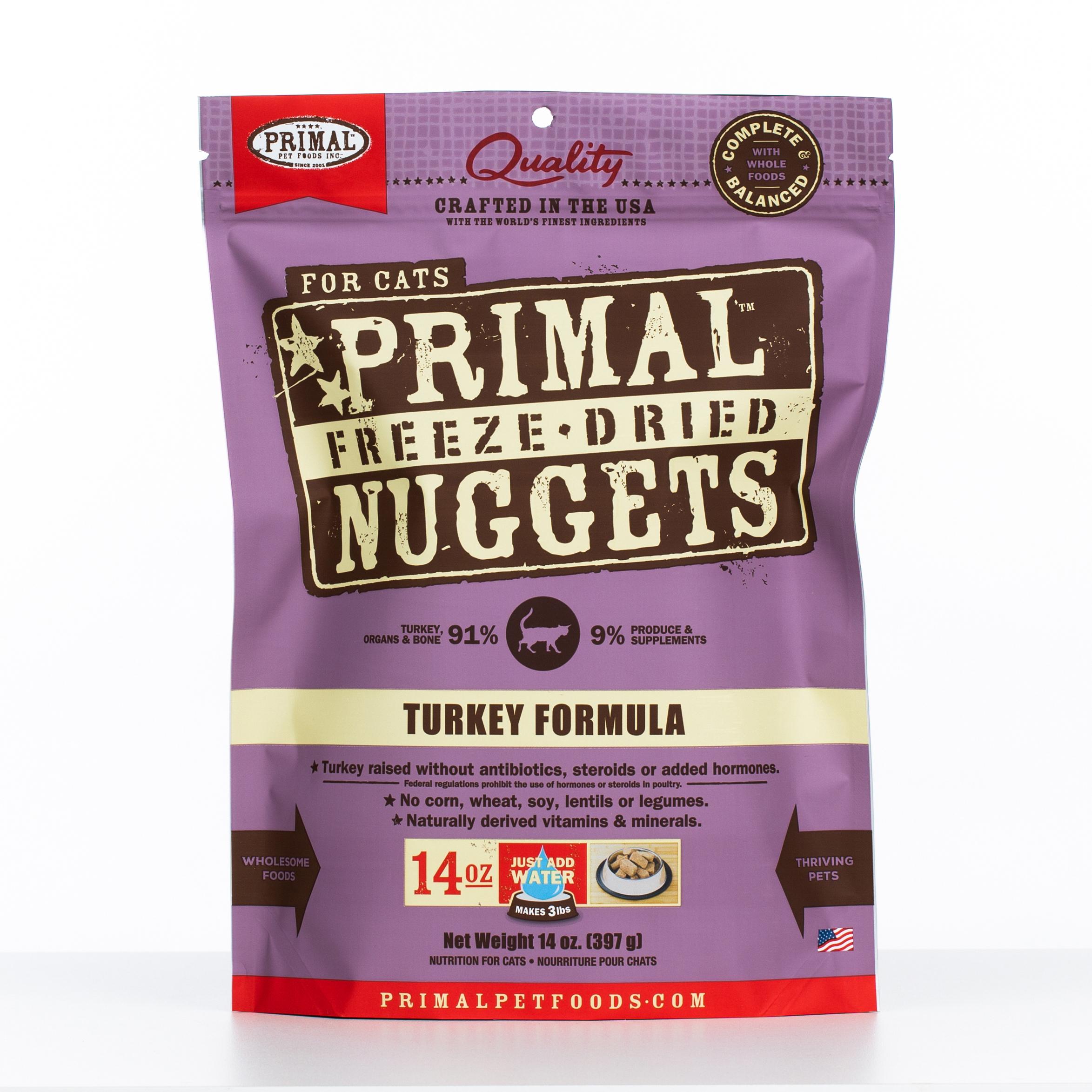 Primal Raw Freeze-Dried Nuggets Turkey Formula Cat Food, 14-oz bag