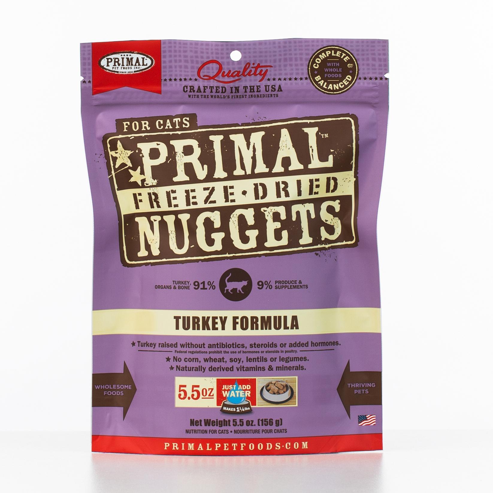 Primal Raw Freeze-Dried Nuggets Turkey Formula Cat Food, 5.5-oz bag