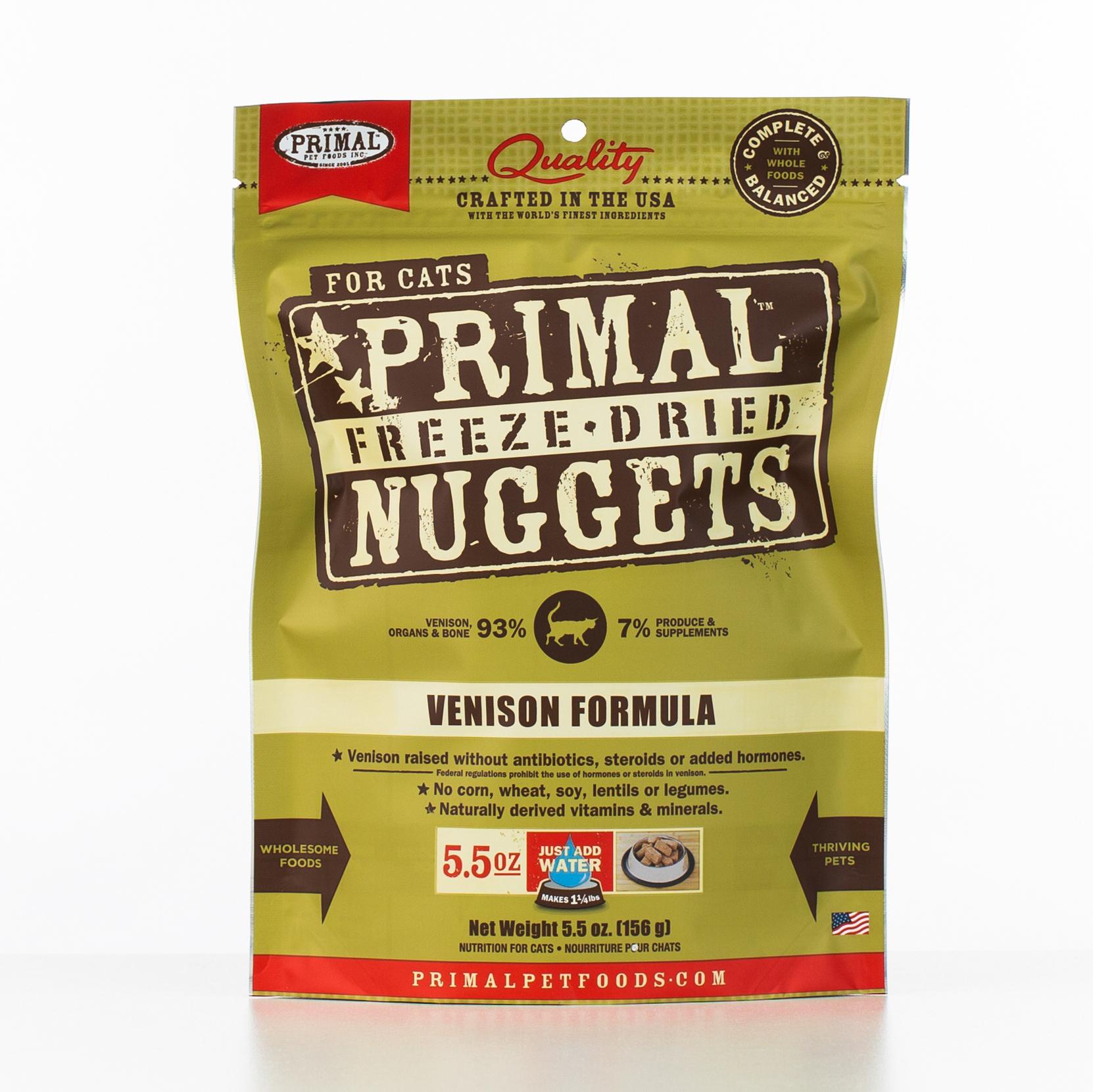 Primal Raw Freeze-Dried Nuggets Venison Formula Cat Food, 5.5-oz bag
