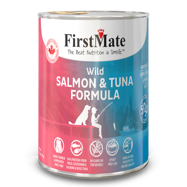 FirstMate 50/50 Salmon & Tuna Grain-Free Canned Dog Food, 12.2-oz