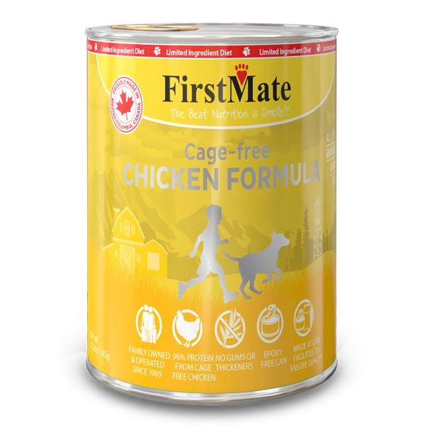 FirstMate Chicken Limited Ingredient Grain-Free Canned Dog Food, 12.2-oz, case of 12