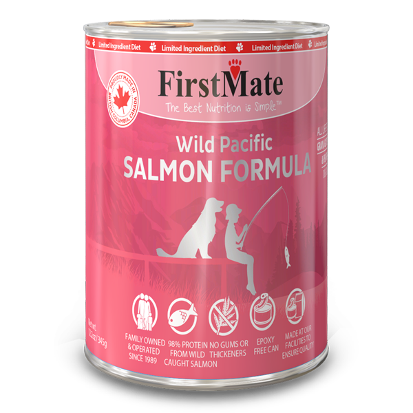 FirstMate Salmon Limited Ingredient Grain-Free Canned Dog Food, 12.2-oz