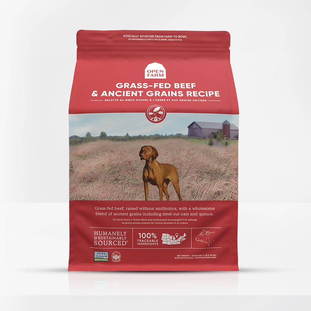 Open Farm Grass-Fed Beef & Ancient Grains Recipe Dry Dog Food, 4-lb