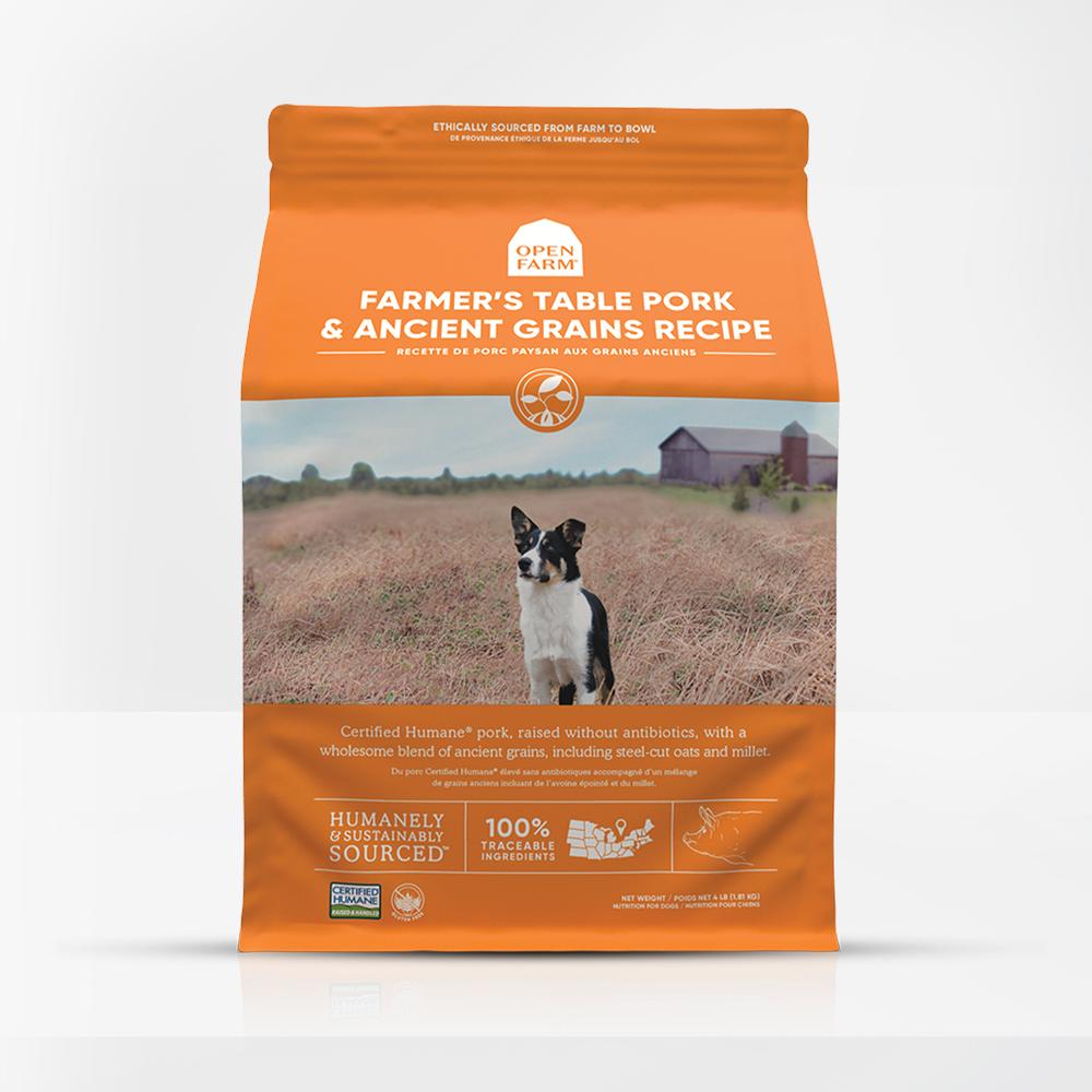 Open Farm Farmer's Table Pork & Ancient Grains Recipe Dry Dog Food, 4-lb