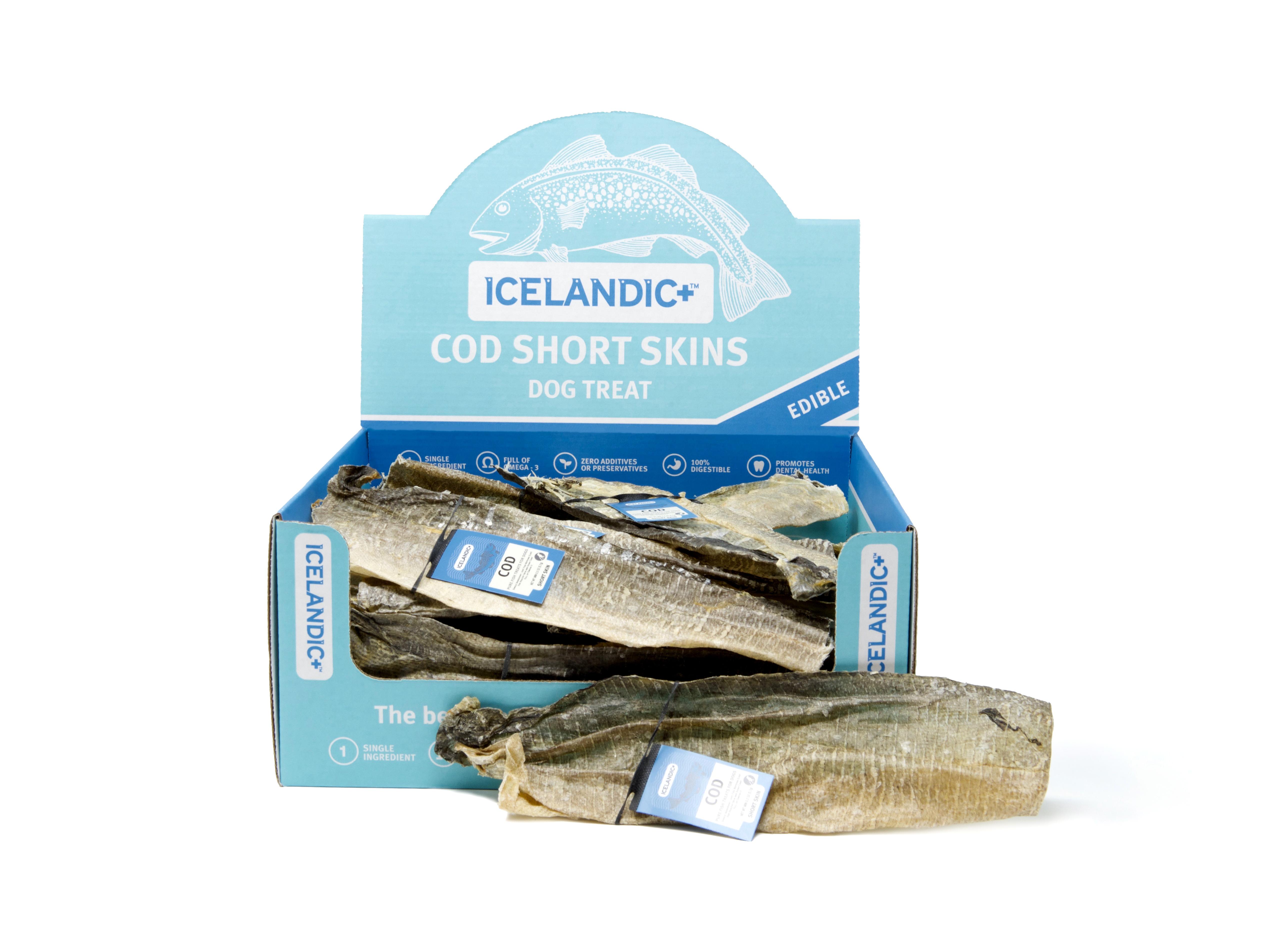 Icelandic+ Cod Short Skin Strips Fish Dog Treat, 1-count