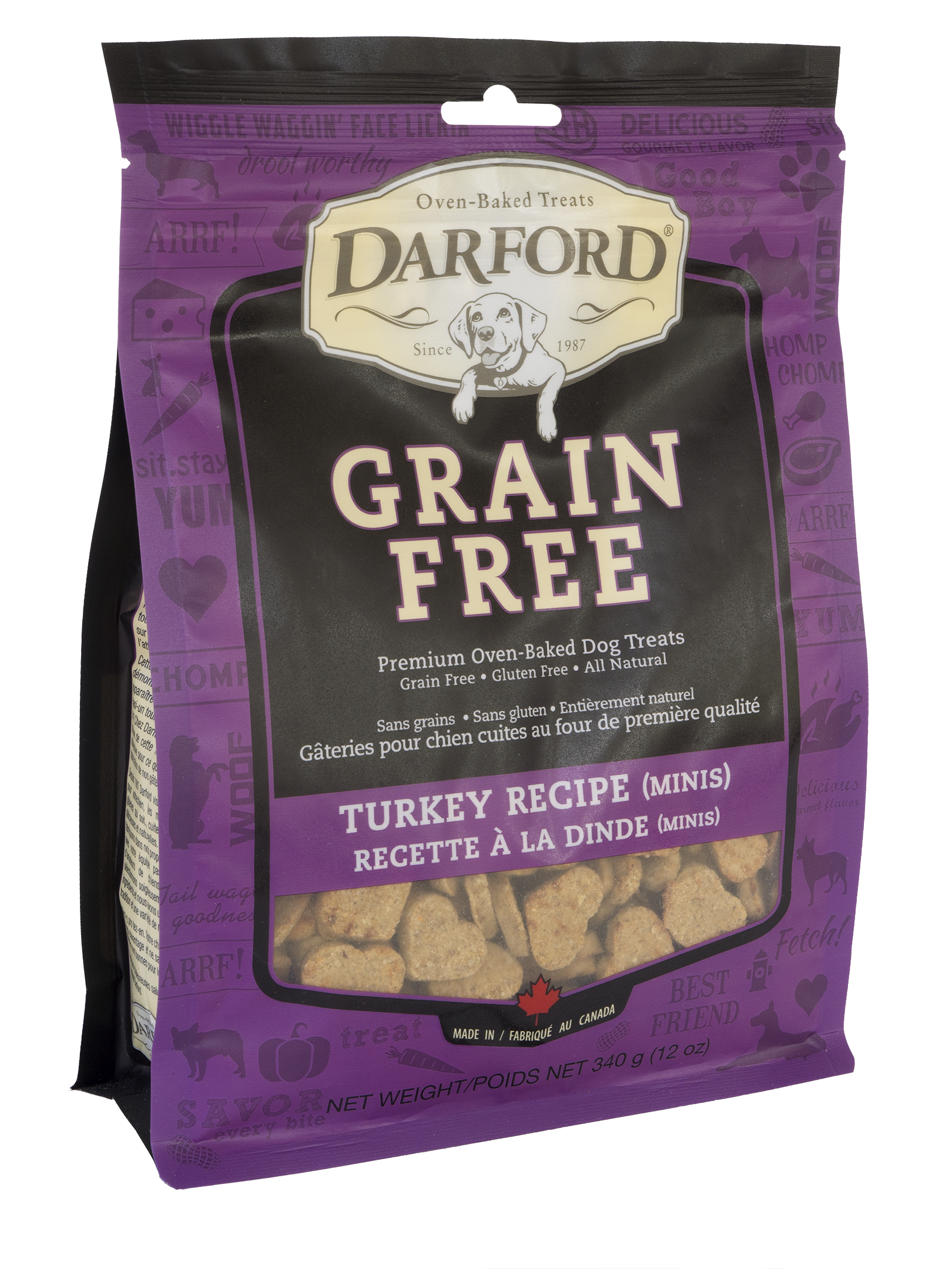 Darford Baked Turkey Recipe with Mixed Vegetables Grain-Free Mini Dog Treats, 12-oz bag