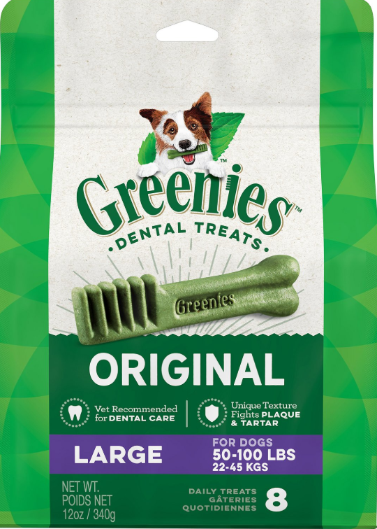Greenies Original Large Dental Dog Treats, 8-count