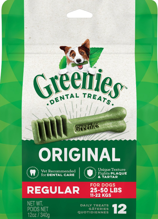 Greenies Original Regular Dental Dog Treats, 12-count