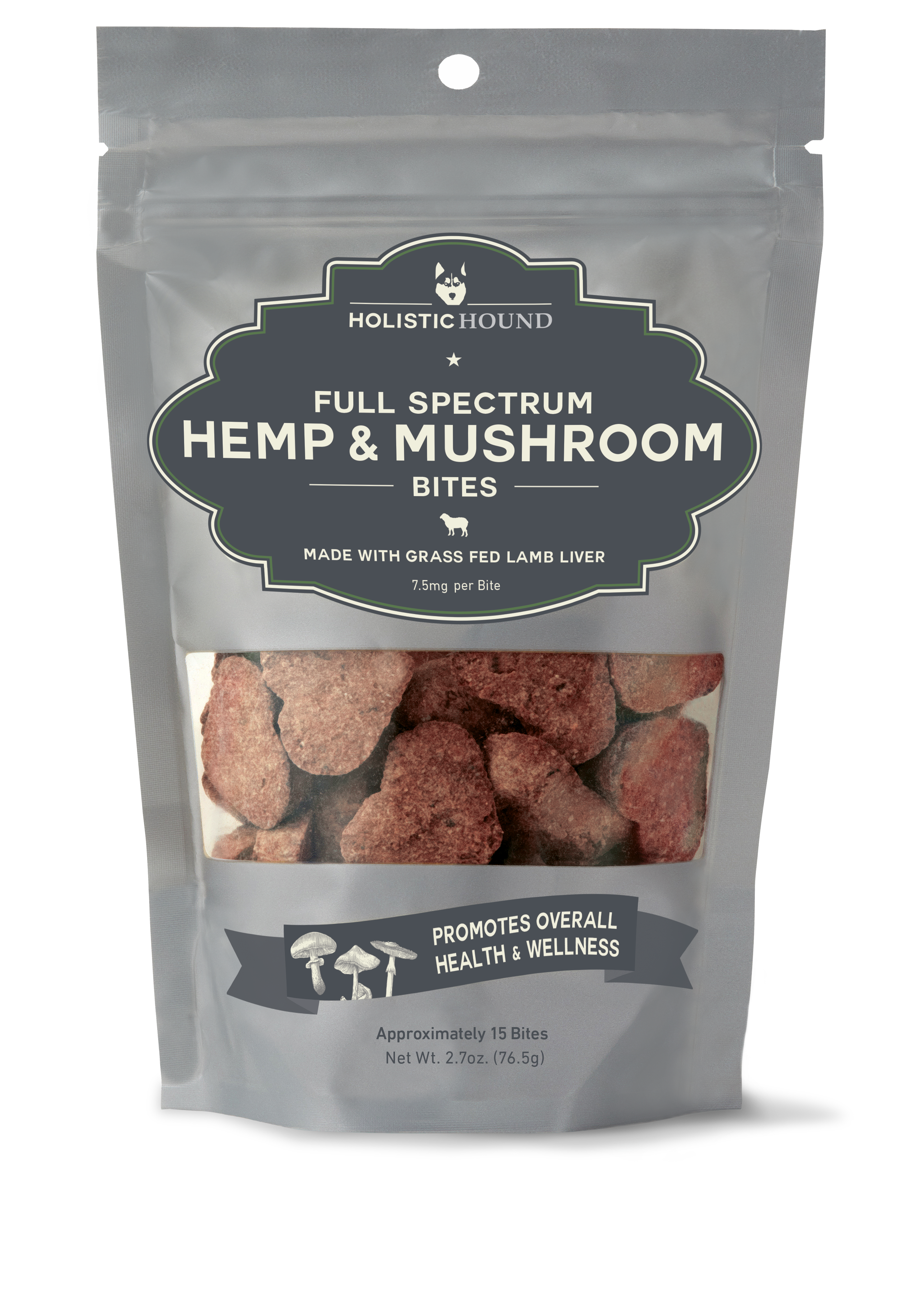 Holistic Hound Lamb Liver Bites With Mushrooms Supplement for Dogs, 7.5-mg, 2.7-oz