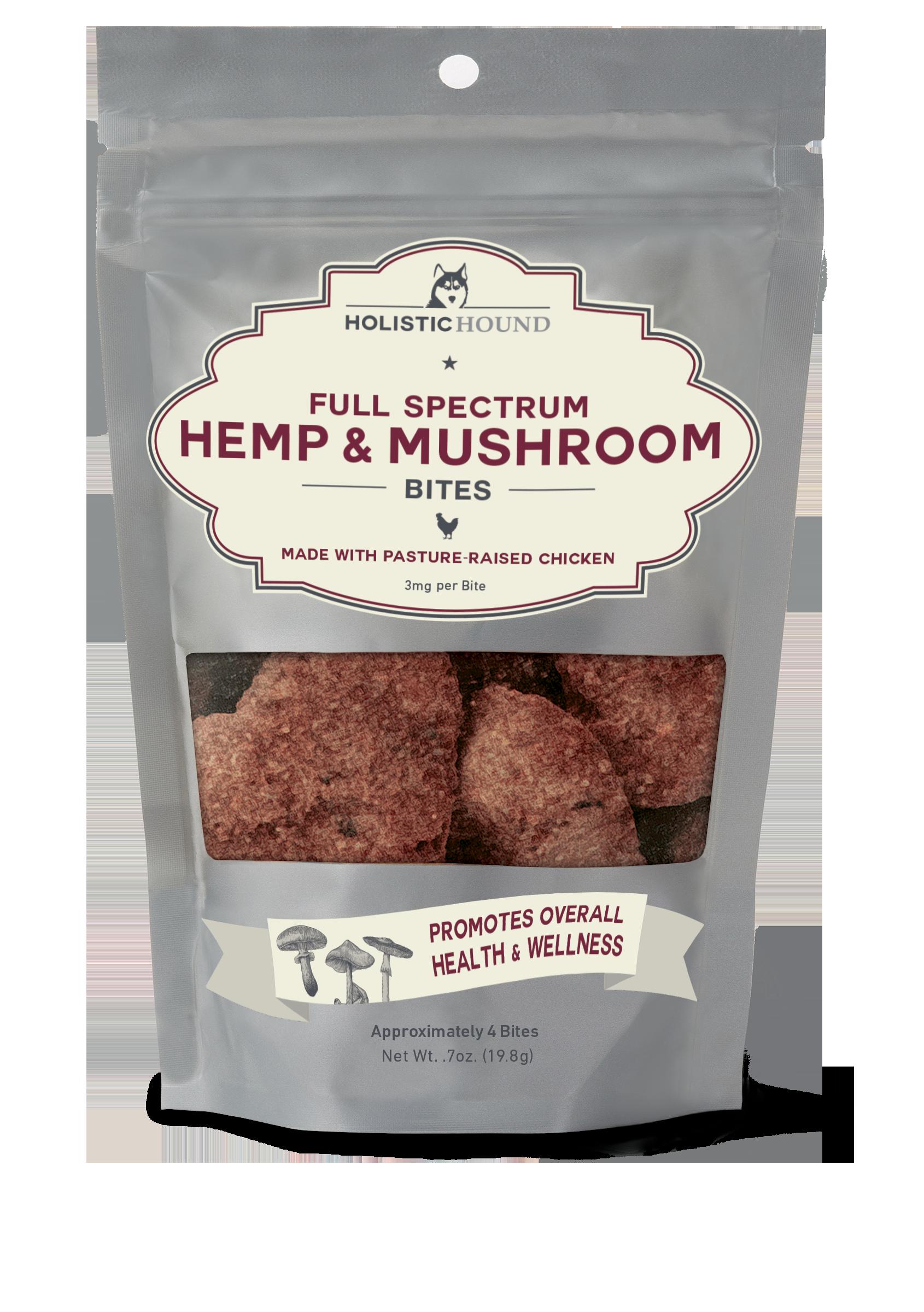 Holistic Hound Chicken & Mushroom Bites for Dogs, 3-mg, 7-oz