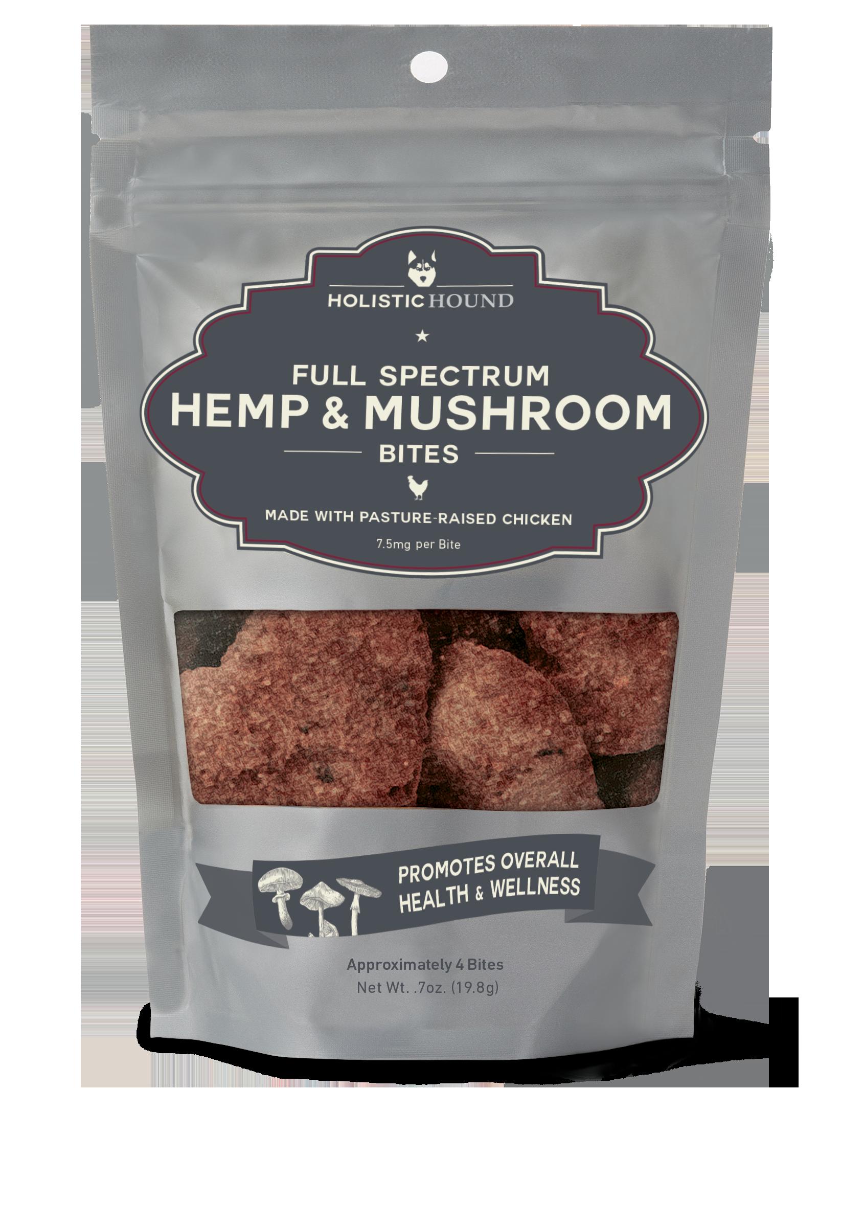 Holistic Hound Chicken & Mushroom Bites for Dogs, 7.5-mg, 0.7-oz