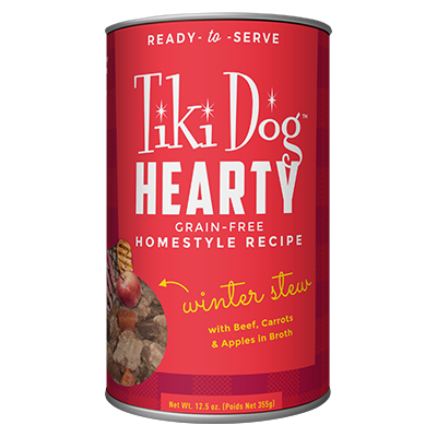 Tiki Dog Hearty Winter Stew with Beef, Carrots and Apples Wet Dog Food, 12.5-oz