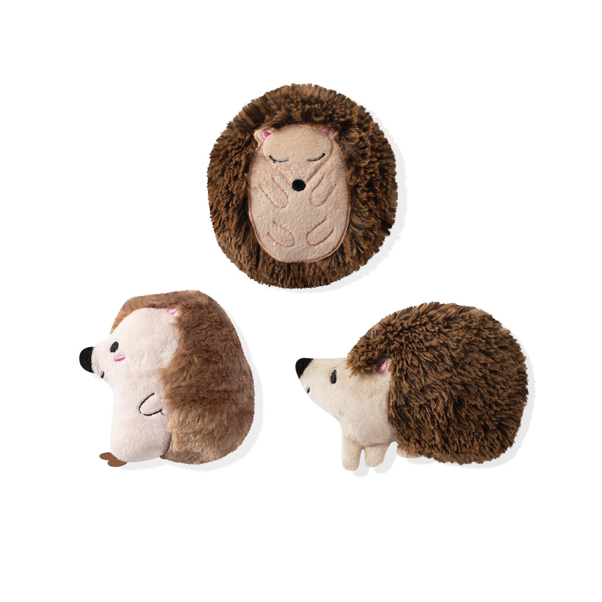 Pet Shop by Fringe Studio Hedgehogs All Day Plush Squeaker Dog Toys, set of 3