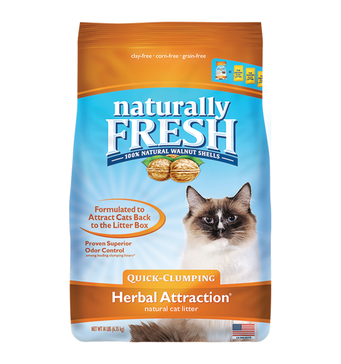 Naturally Fresh Walnut-Based Herbal Attraction Quick-Clumping Cat Litter, 14-lb bag
