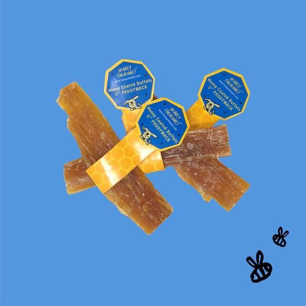 Honey I'm Home Honey Coated Buffalo Paddywack Sticks Dog Treats, 6-in