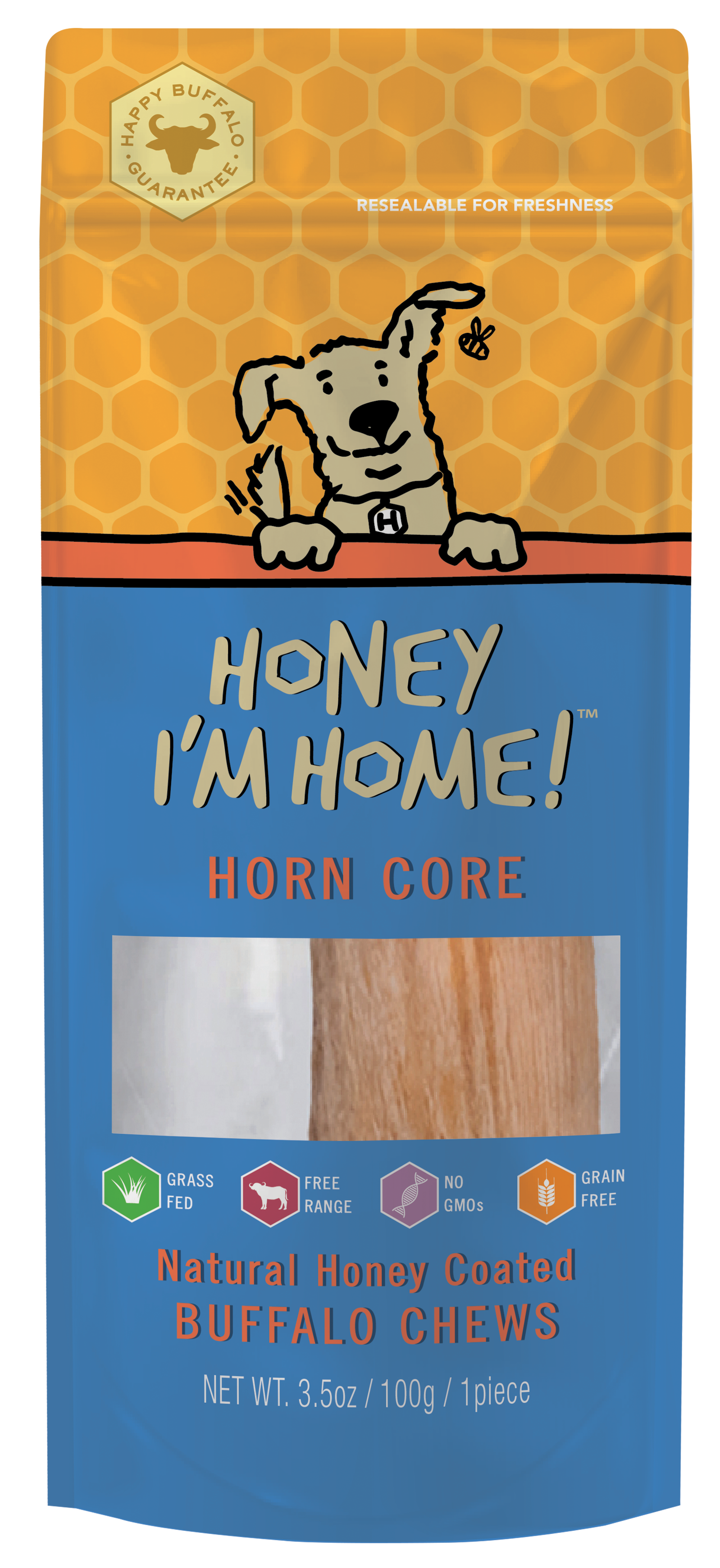 Honey I'm Home Natural Honey Coated Buffalo Horn Core Dog Chews, Individually Wrapped, 1 count