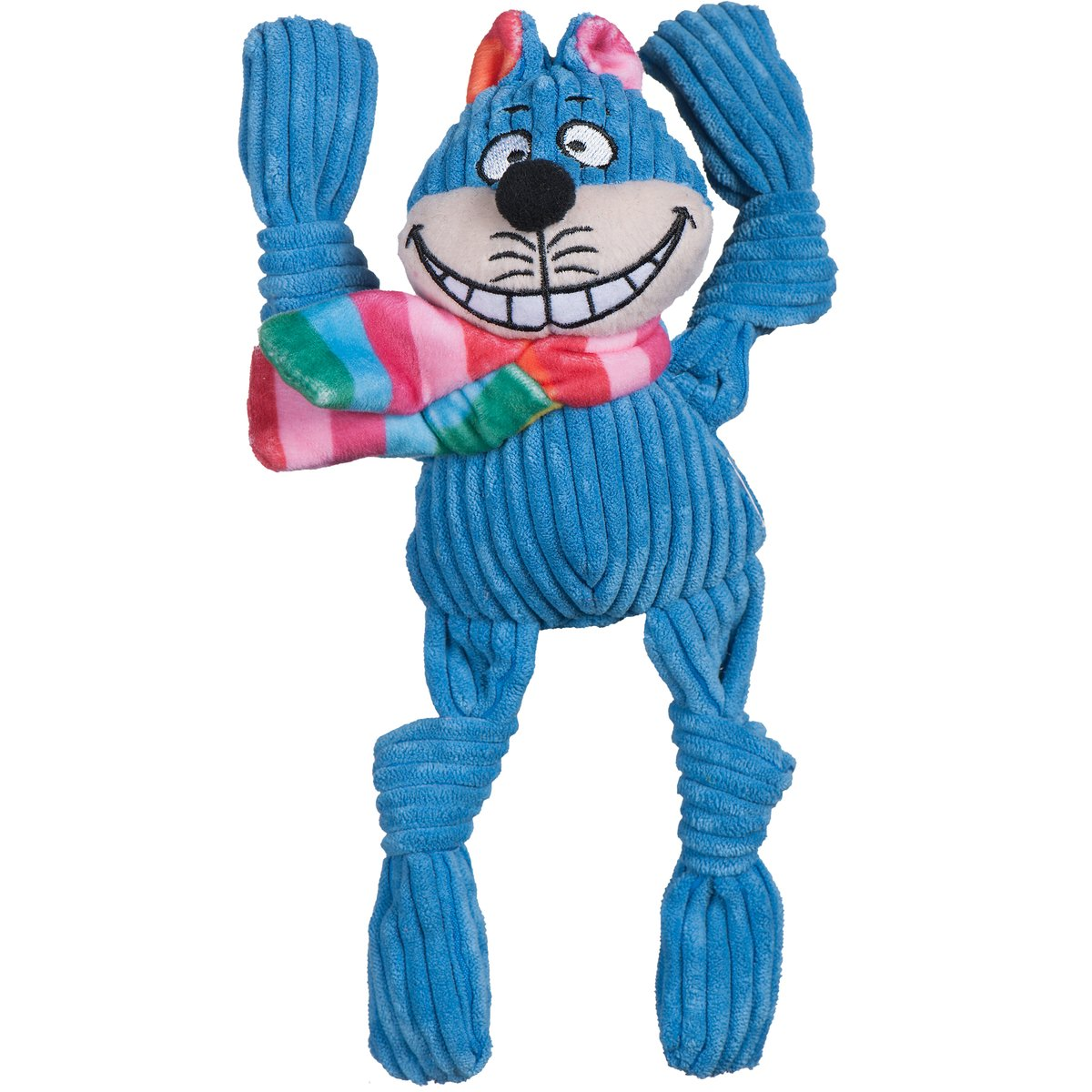 HuggleHounds Rainbow Cheshire Cat Knottie Dog Toy, Small