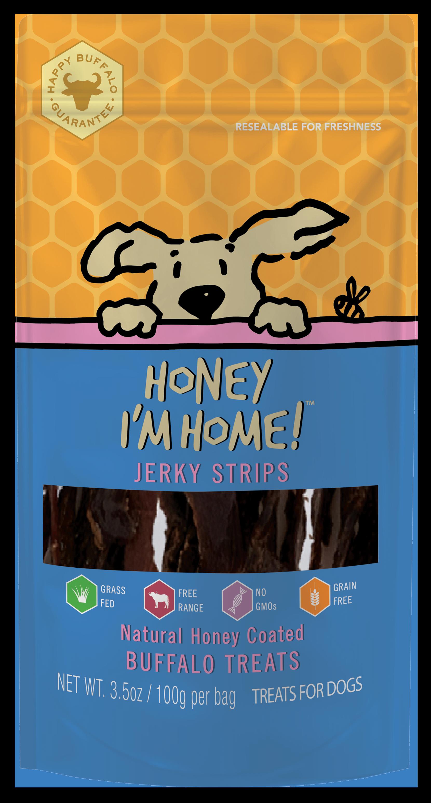 Honey I'm Home Natural Honey Coated Buffalo Jerky Dog Treats, 3.5-oz