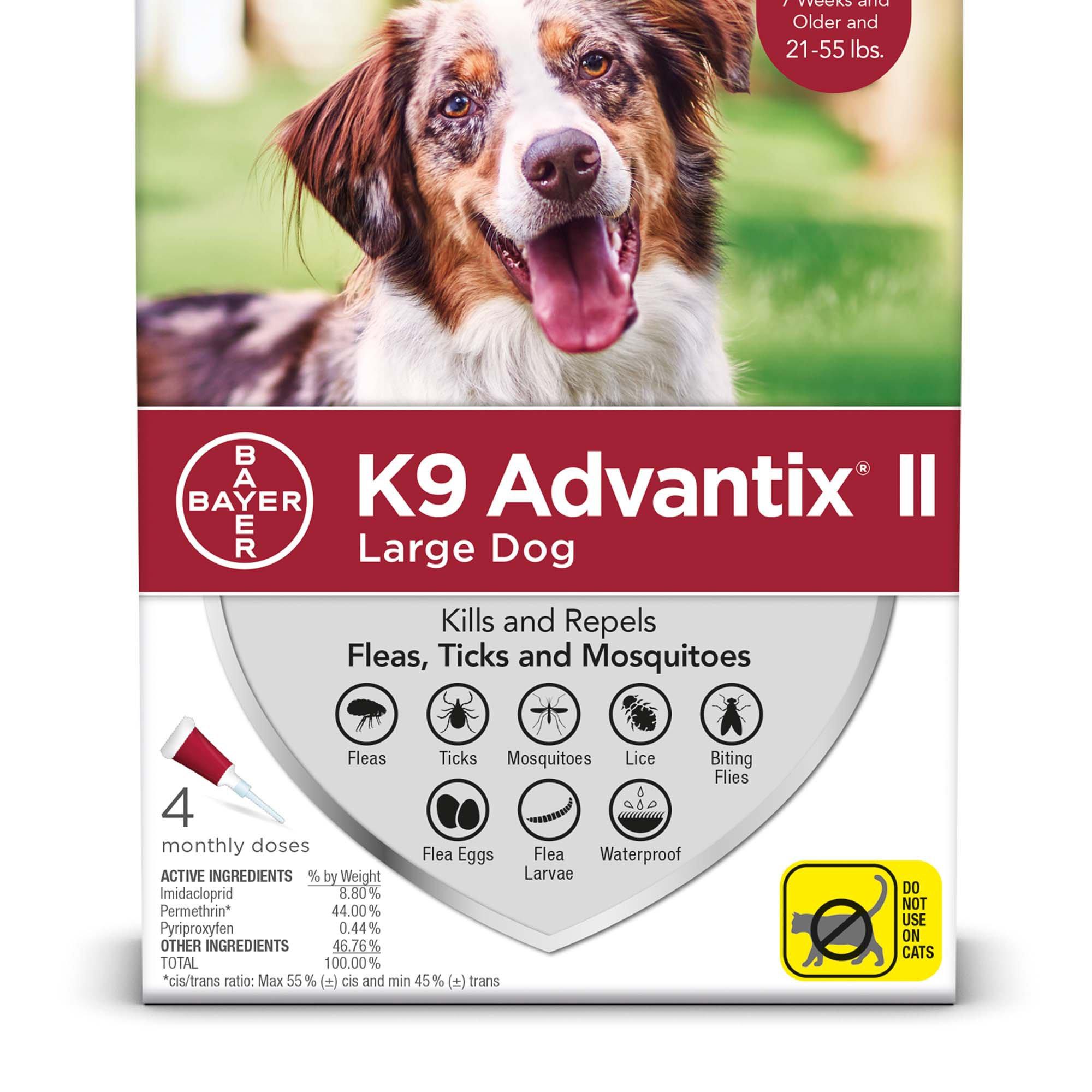 Bayer K9 Advantix II Flea & Tick Treatment for Large Dogs 21-55 lbs, 4-pk