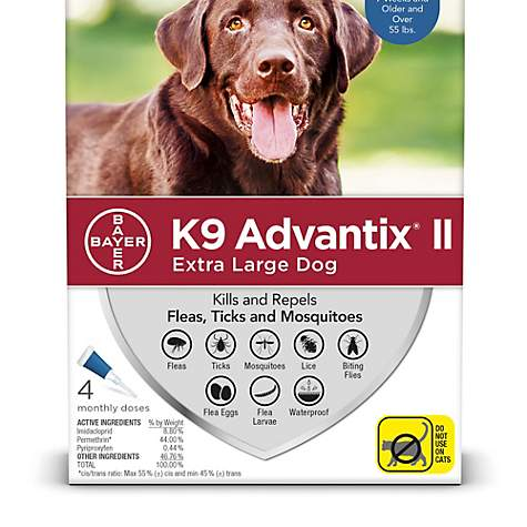 Bayer K9 Advantix II Flea & Tick Treatment for Extra Large Dogs Over 55-lbs, 4-pk