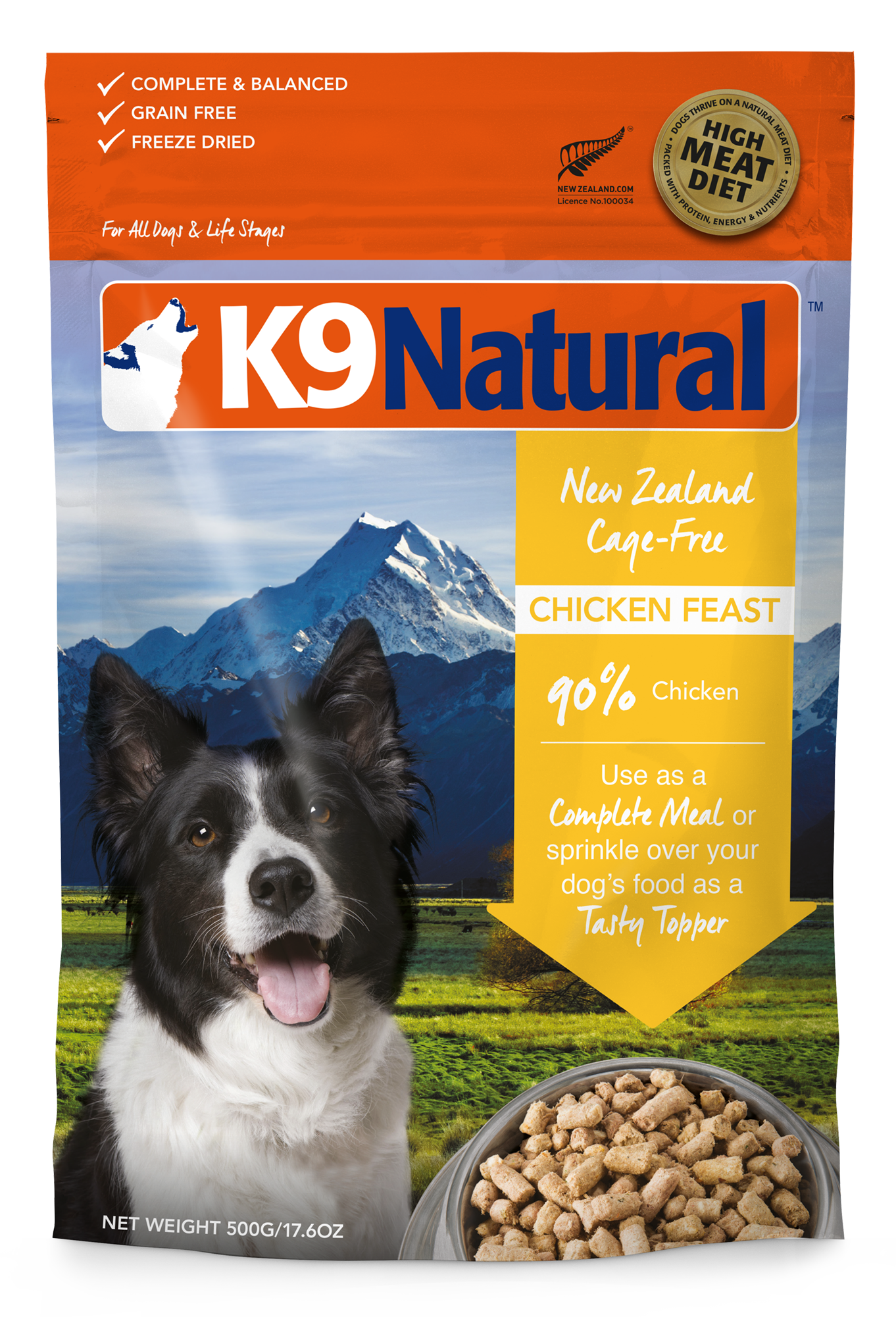 K9 Natural Chicken Feast Grain-Free Freeze-Dried Dog Food, 1.1-lb