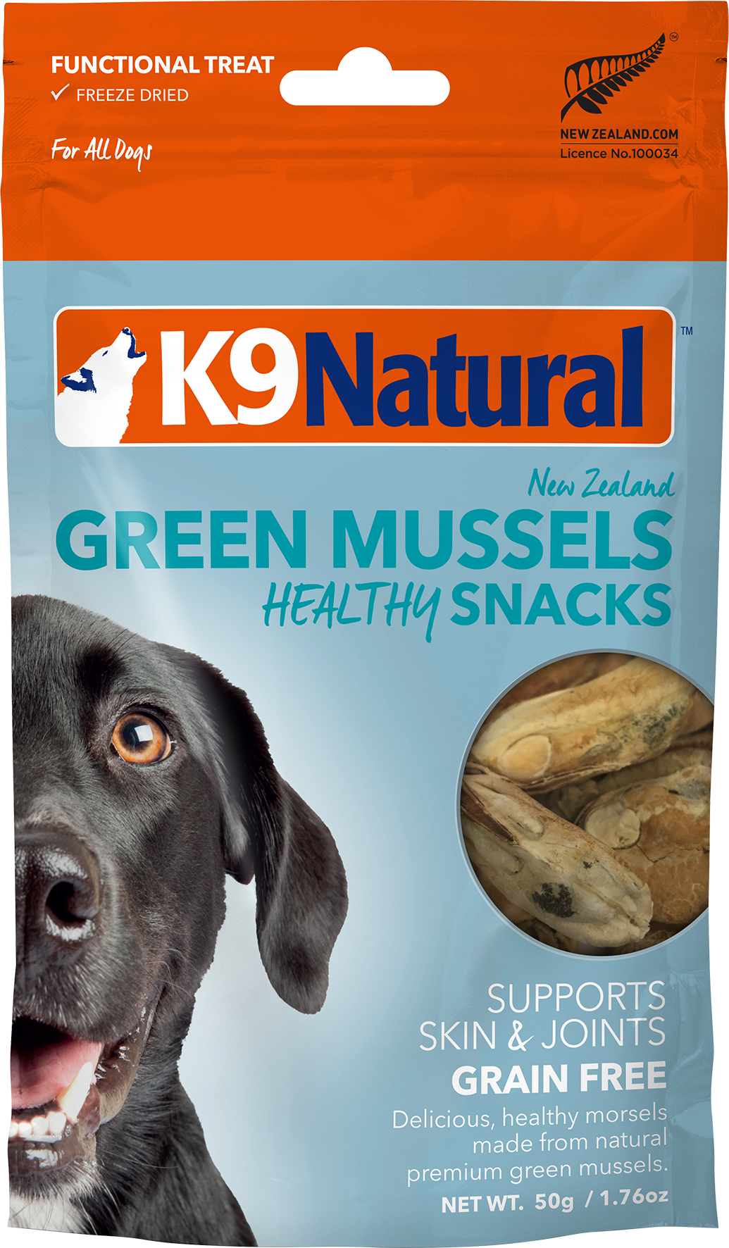 K9 Natural Healthy Snacks Green Mussels Freeze-Dried Dog Treats, 1.76-oz bag Image