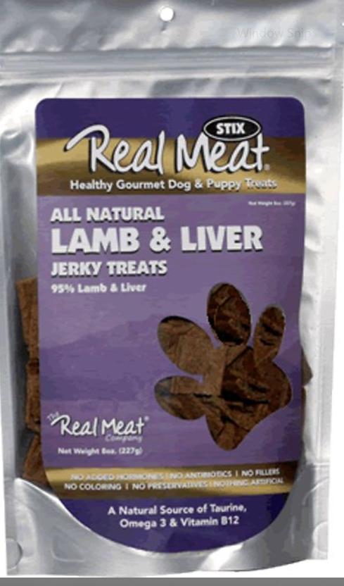 The Real Meat Company 95% Lamb & Liver Jerky Stix Dog Treats, 8-oz bag