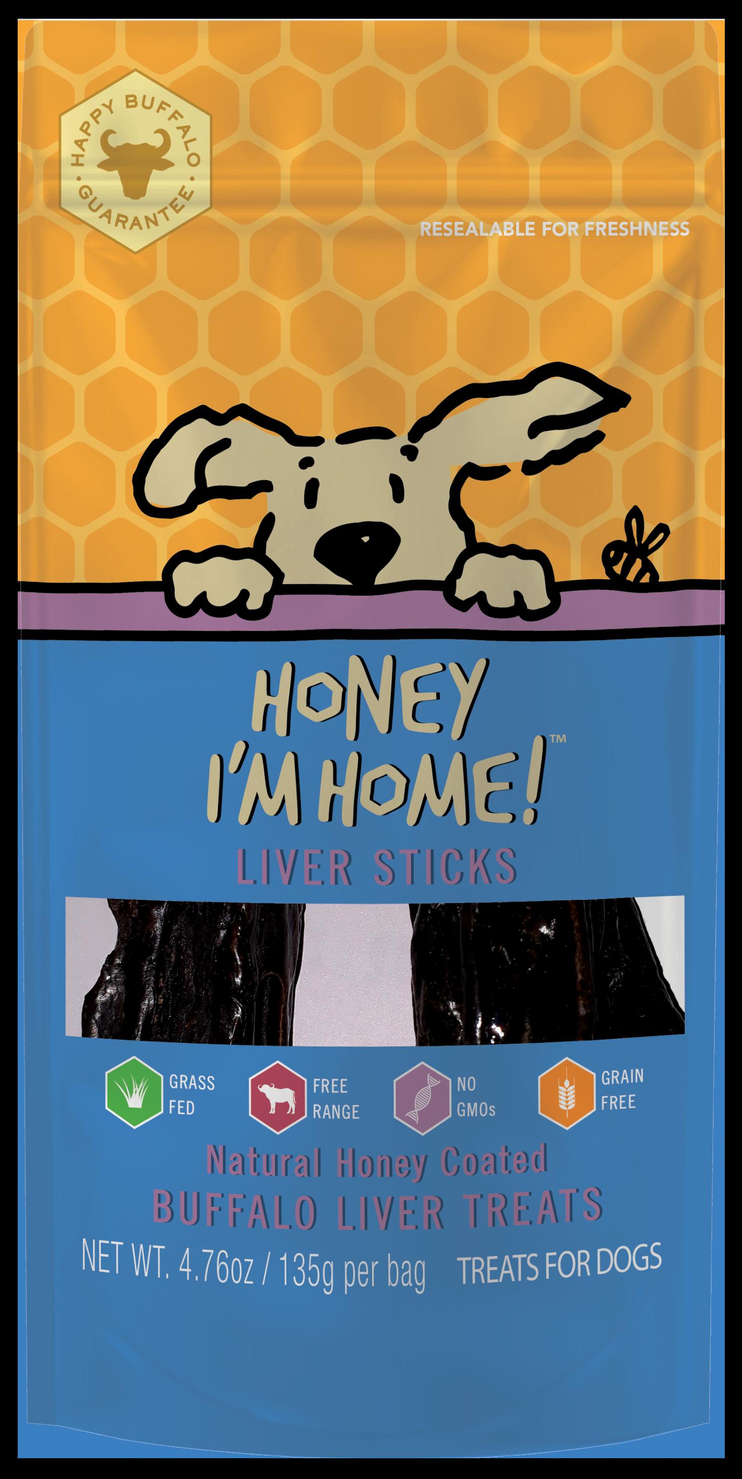 Honey I'm Home Natural Honey Coated Buffalo Liver Sticks Dog Treats, 4.76-oz