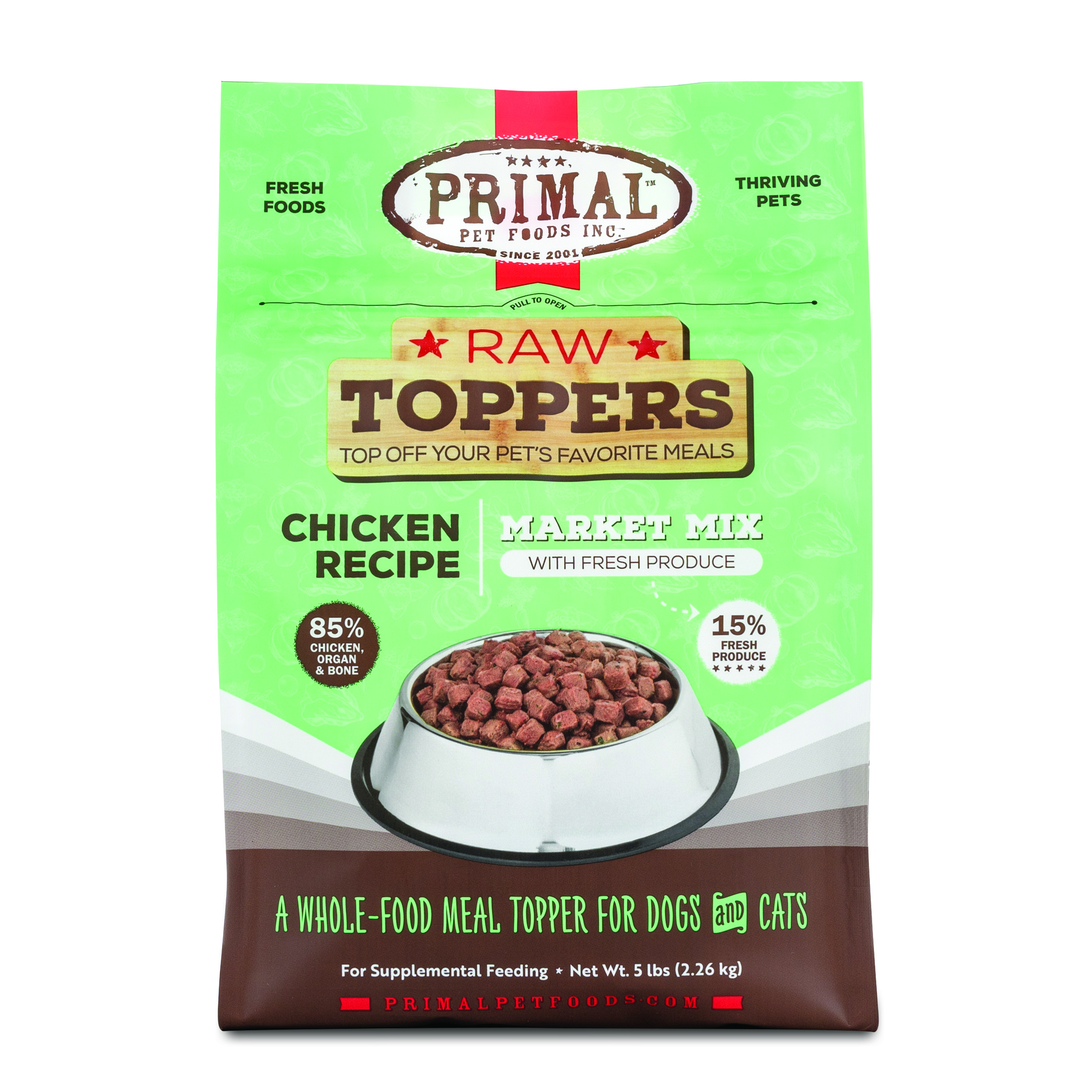 Primal Raw Toppers Market Mix Chicken Dog & Cat Food Topper, 5-lb