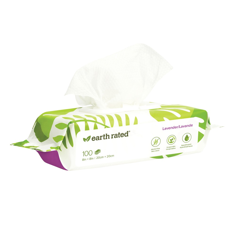Earth Rated Compostable Pet Grooming Wipes, Lavender Scented, 100-count