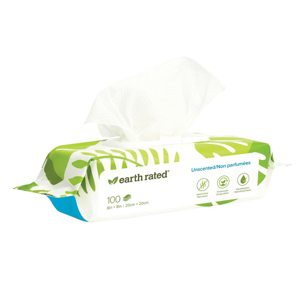 Earth Rated Compostable Pet Grooming Wipes, Unscented, 100-count