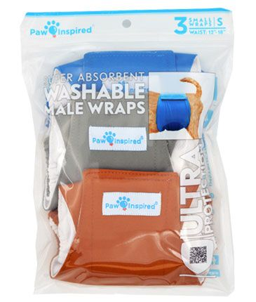 Paw Inspired Washable Male Dog Wraps, Small, 3-count