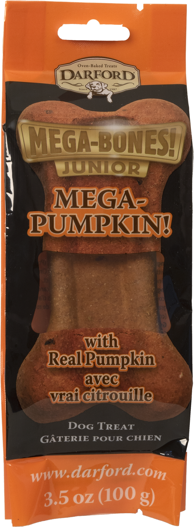 Darford Mega Pumpkin Junior Bone Dog Treat, 3.5-oz
