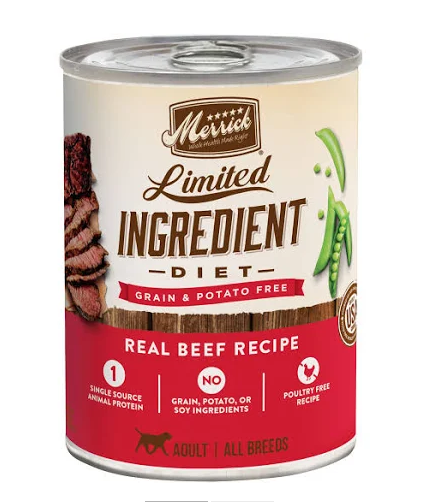 Merrick Grain-Free Limited Ingredient Diet Beef Recipe Canned Dog Food, 12.7-oz