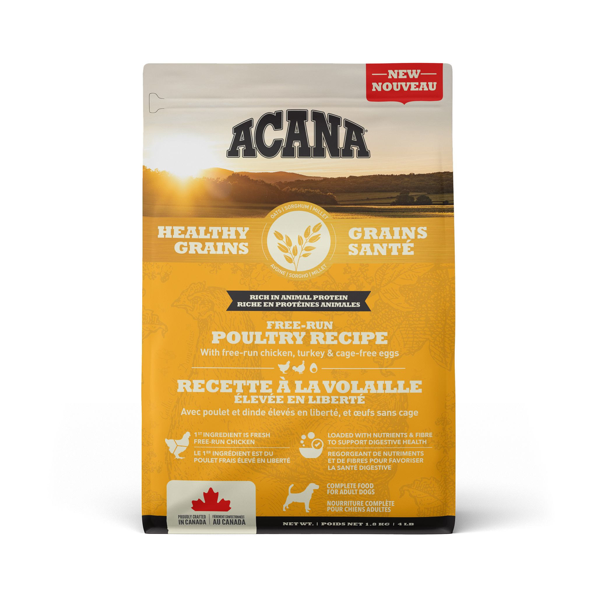 ACANA Healthy Grains Free-Run Poultry Recipe, 1.8-kg