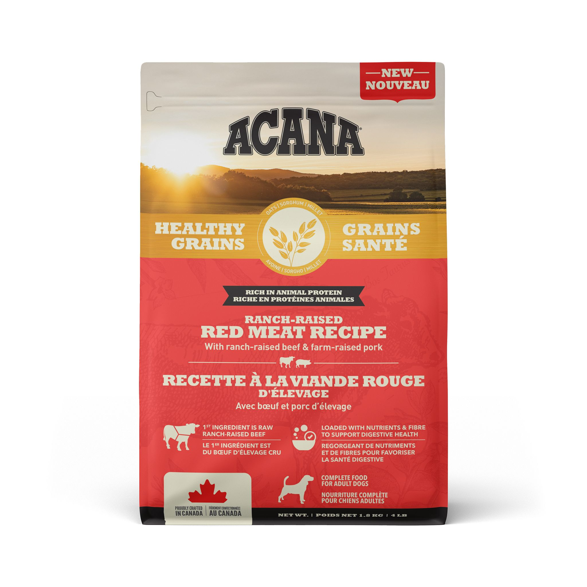 ACANA Healthy Grains Ranch-Raised Red Meat Recipe, 1.8-kg
