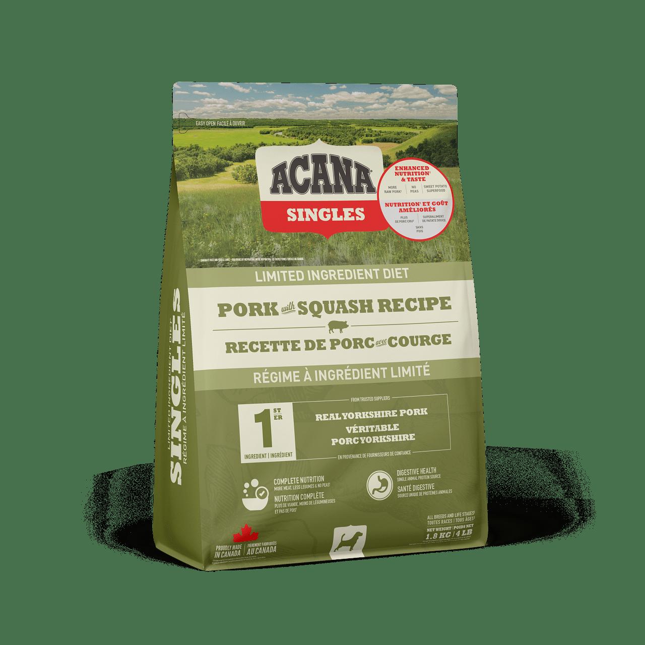 ACANA Singles Limited Ingredient Diet Pork & Squash Recipe Dry Dog Food, 1.8-kg