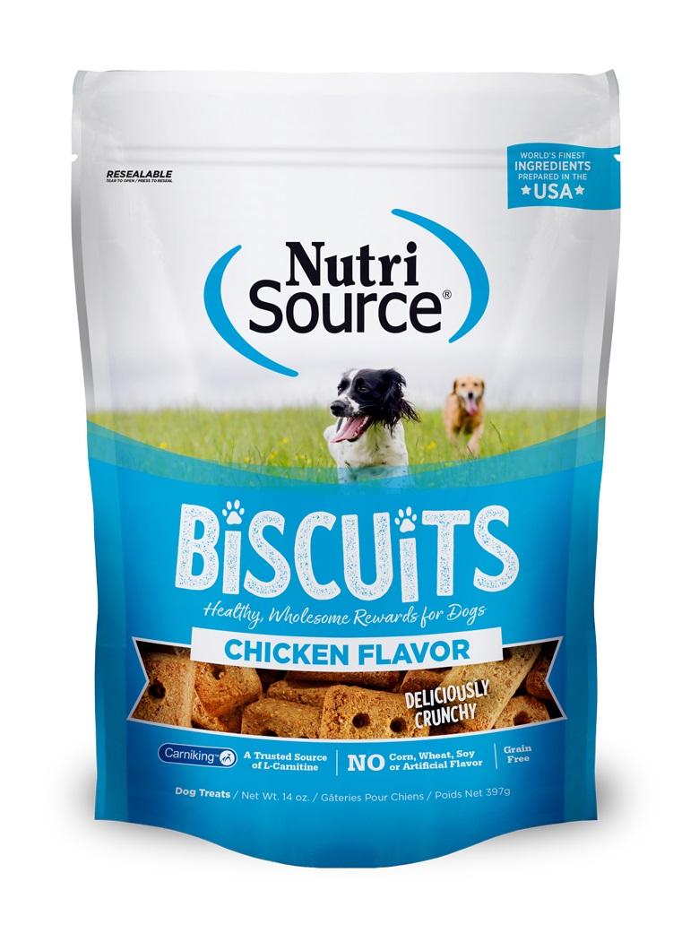 NutriSource Grain Free Biscuits Chicken Dog Treats, 14-oz