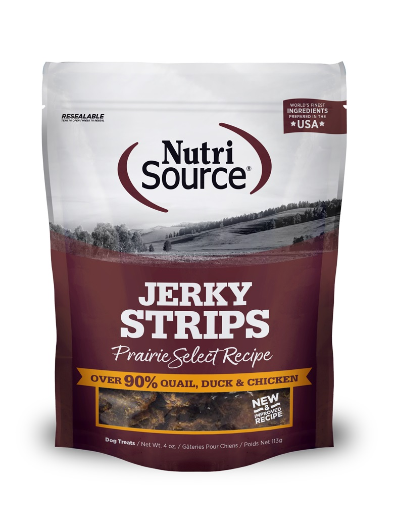 NutriSource Jerky Treats Prairie Select Grain-Free Dog Treats, 4-oz