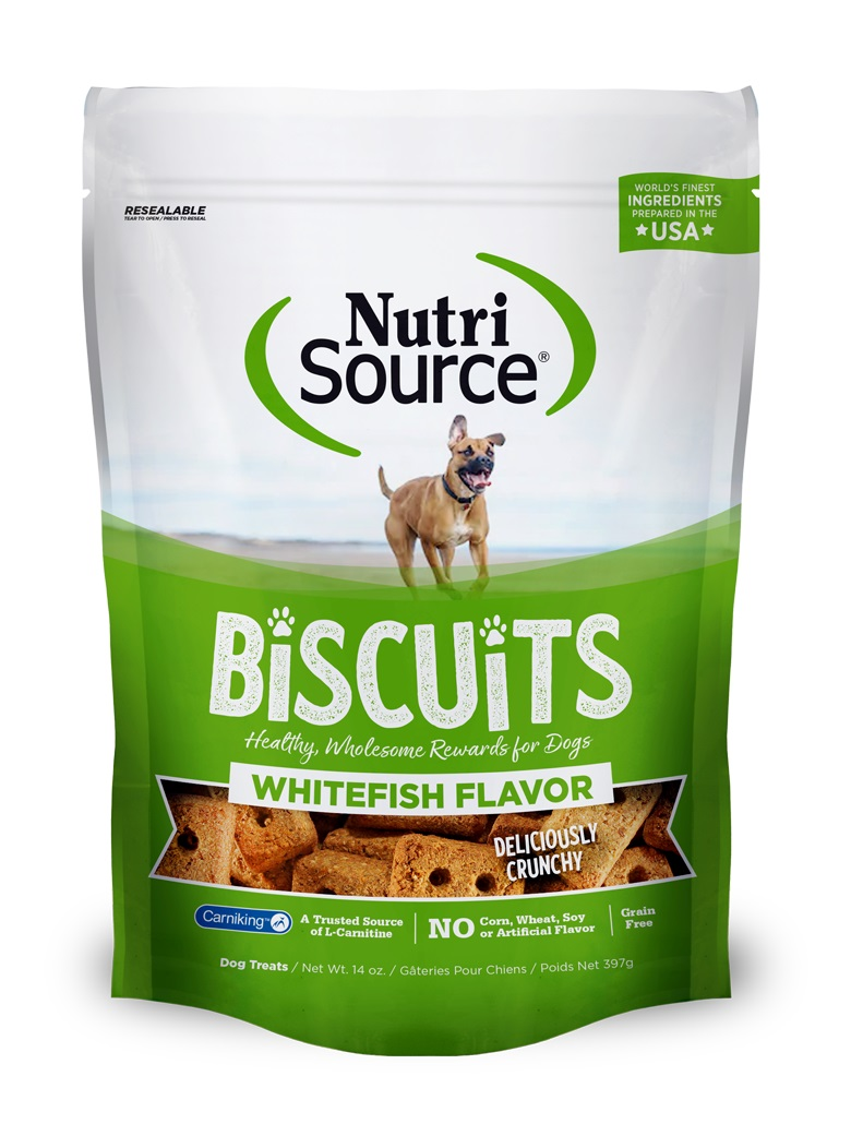 NutriSource Grain Free Biscuits Whitefish Dog Treats, 14-oz